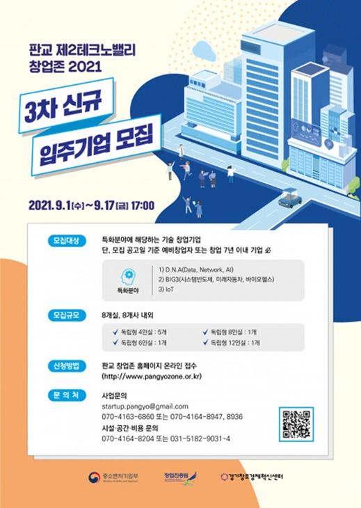 글로벌 혁신성장 지원 플랫폼 판교 창업존, 2021년 3차 신규 입주 기업 모집